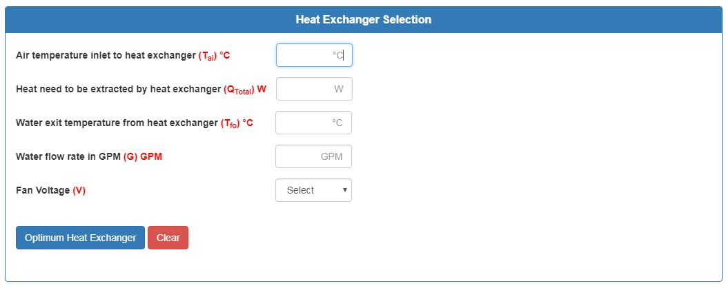 Heat Exchanger Selection Tool