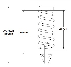 push pin attachment schematic showing length